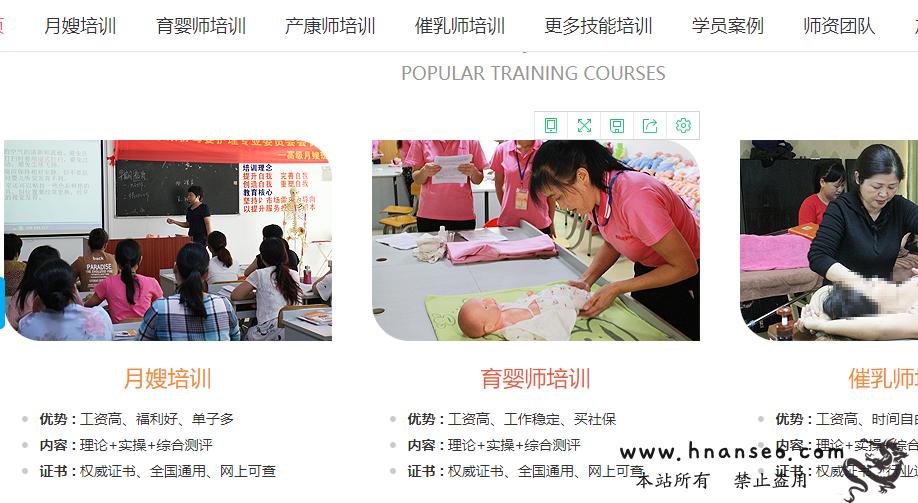 家政职业培训学校网站建设制作案例首页部分截图